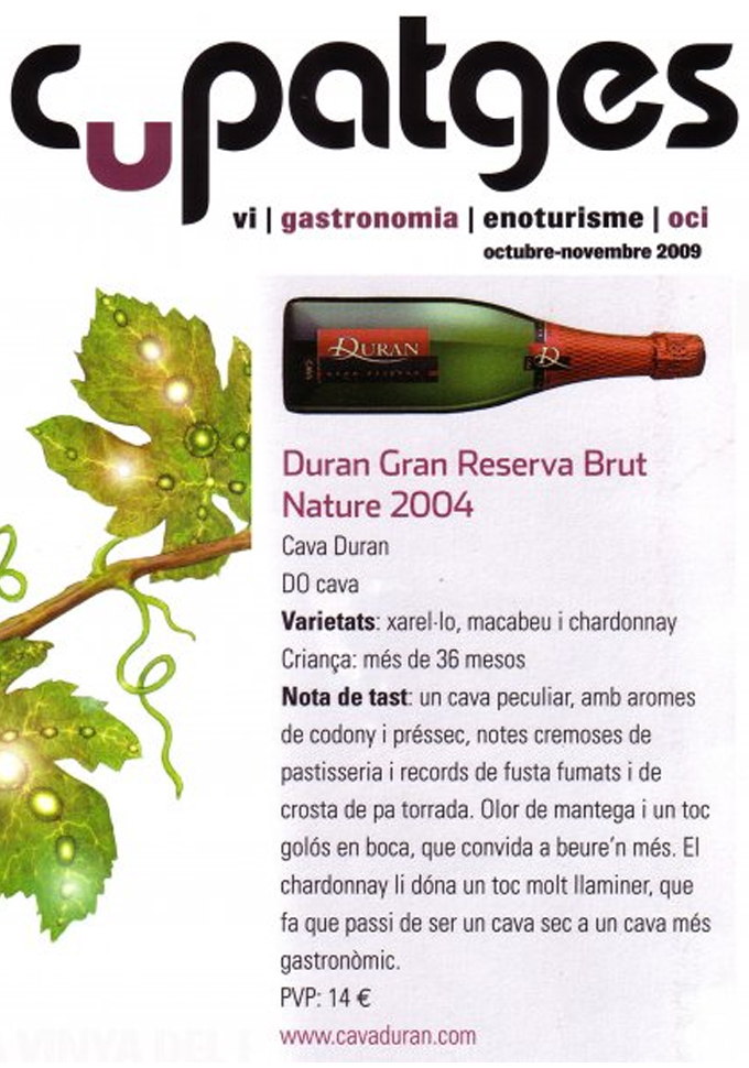 Cupatges Magazine - Duran Gran Reserva brut nature - October 2009