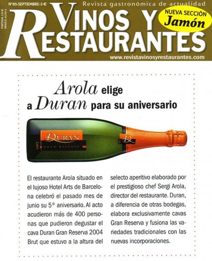Vinos y restaurantes - Septiembre 2009