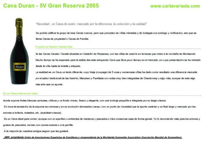Carta variada - Duran Gran Reserva - May 2009