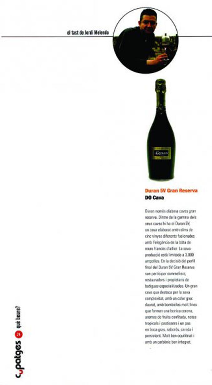 Cupatges Magazine - Duran 5V Gran Reserva - December 2008