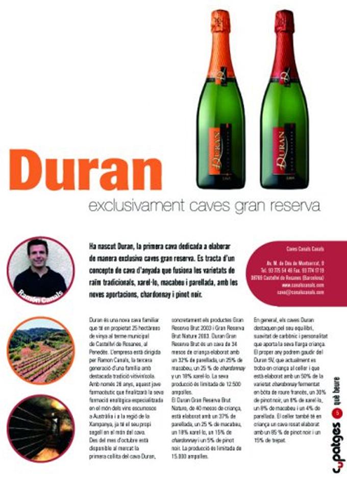 Cupatges - Duran Gran Reserva - DIciembre 2008