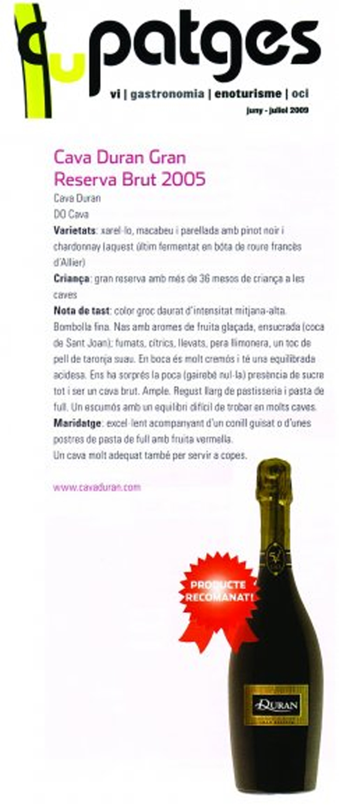 cupatges-magazine-duran-5v-gran-reserva-june-2009