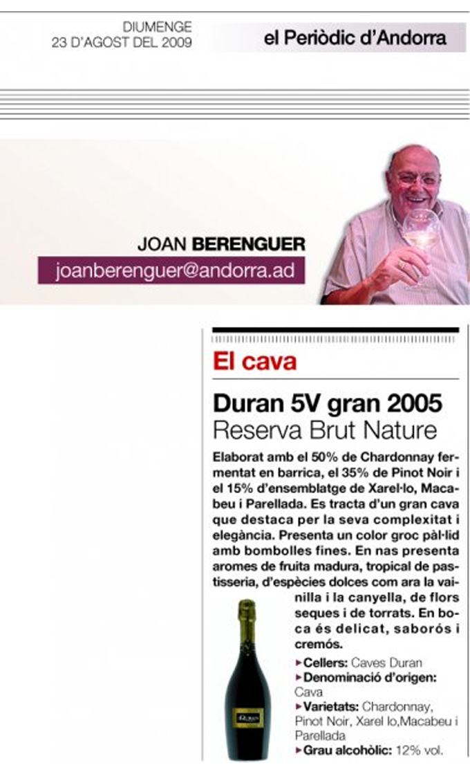 Andorra Newspaper - Duran 5V Gran Reserva - August 2009