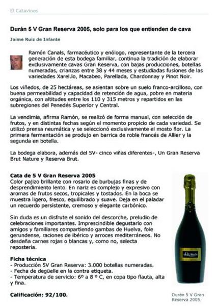 El catavinos - Duran 5V Gran Reserva - Diciembre 2008
