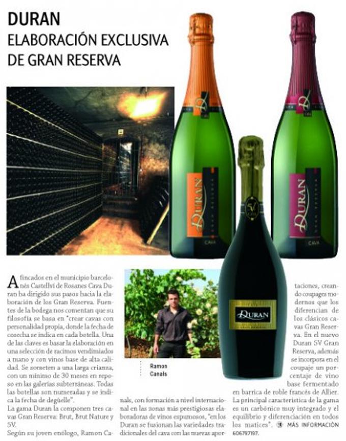 Vinos y restaurantes - Duran Gran Reserva - Diciembre 2008