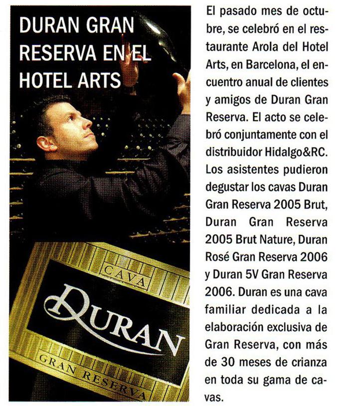 Vinos y restaurantes - Hotel Arts 2010