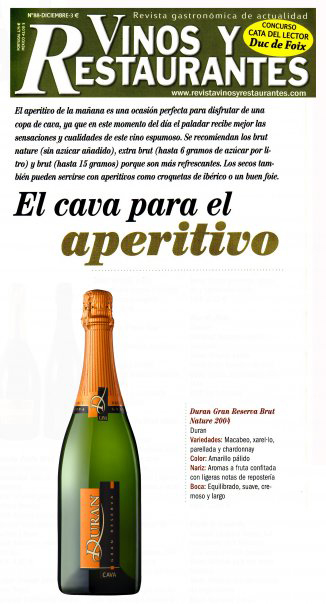 Vinos y restaurantes - Cavas & aperitif selection - December 2009