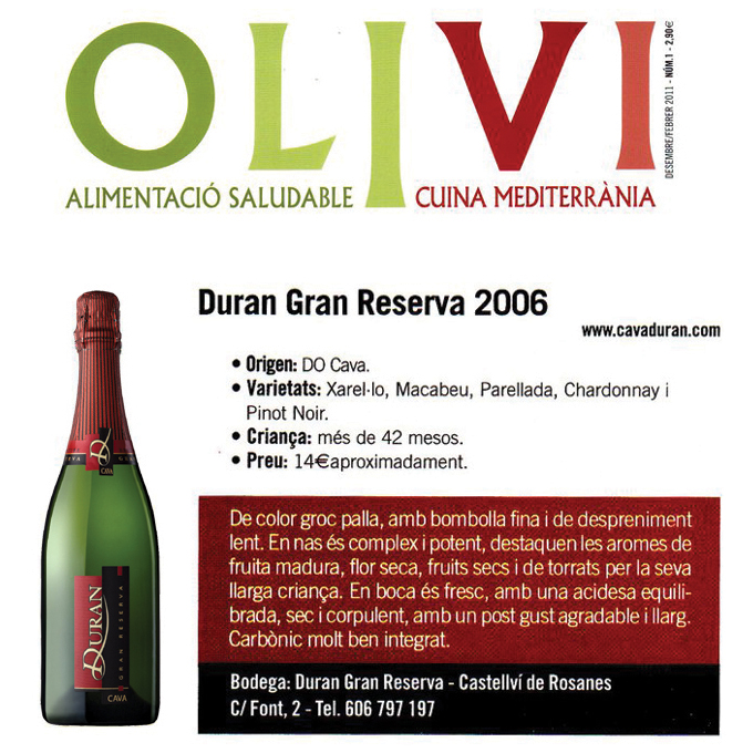 Revista Olivi - Duran Gran Reserva brut nature - Desembre 2010